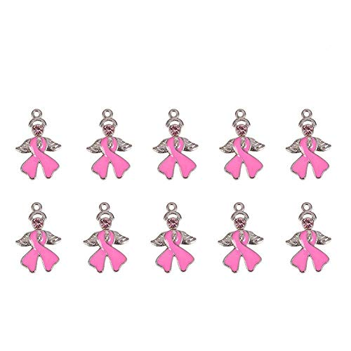 PandaHall 20 Pcs Breast Cancer Awareness Ribbon with Angel Wing Alloy Rhinestone Enamel Pendants Size 23.5x15x2mm Pink