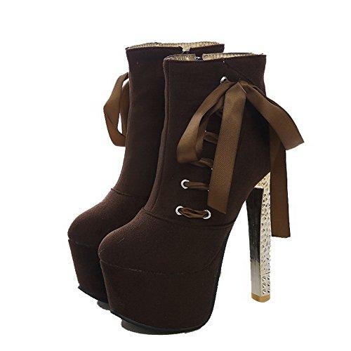 Agoolar Mujeres Solid-high-heels Round Cerrado Dedo Imitado Suede Cremallera Botas Café