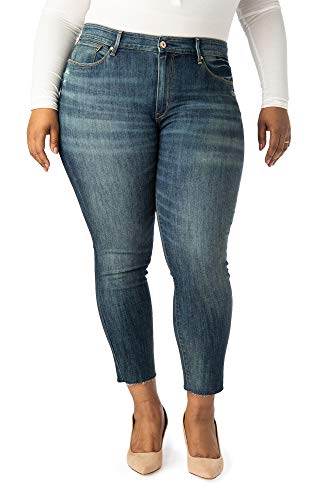 - Women's High Rise Ankle Skinny 5 Pocket Raw Cut Off Cuff Jeans (18, Wild West)