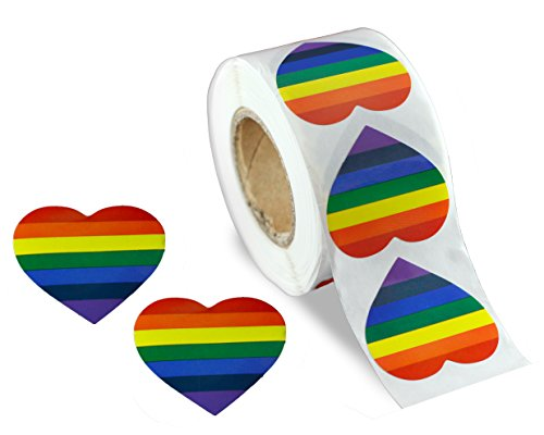 Gay Pride Rainbow Stickers on a Roll - Heart Shaped (500 Stickers)-Support LGBT (Pride Heart)