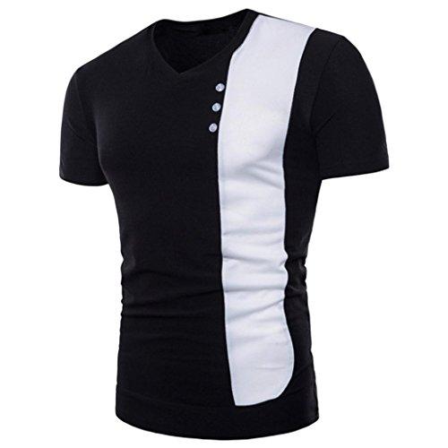 Realdo Mens Splice Henleys, Casual Slim Short Sleeve T-Shirt Top(Black,Large) -
