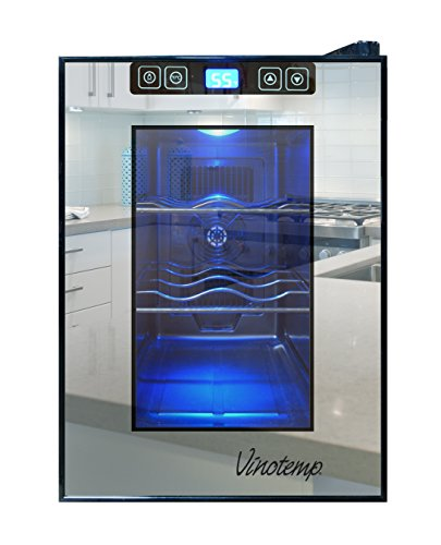 Vinotemp 6 Bottle - Vinotemp VT-6TSBM 6-Bottle Mirrored Thermoelectric Wine Cooler, Black
