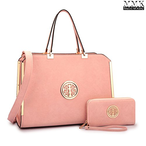 MMK Collection Satchel &Briefcase set~Satchel handbags with Wristlet wallet ~Designer Purse for Women ~ Perfect Women Purse and wrist wallet~ Beautiful Designer Handbag Set (69012828) (6900 Pink)