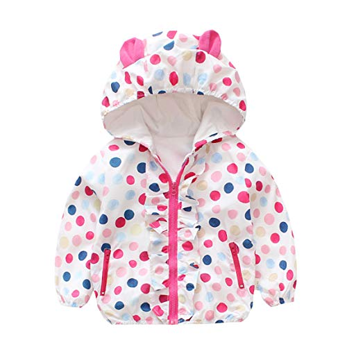 WINZIK Little Baby Girls Kids Outfits Spring Autumn Polka Dot Pattern Hooded Windbreaker Jacket Casual Outerwear Coat (18-24 Months, Dot&Rabbit Hooded)