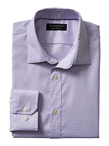- Banana Reublic Mens Slim-Fit Non-Iron Purple Shirt (M)