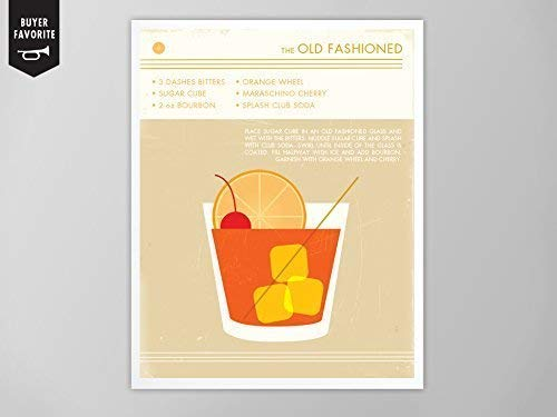 Old Fashioned Cocktail Art Print, Retro Food and Drink Print, Cocktail Art, Mid Century Modern Design Poster, Old Fashioned Drink Art Print