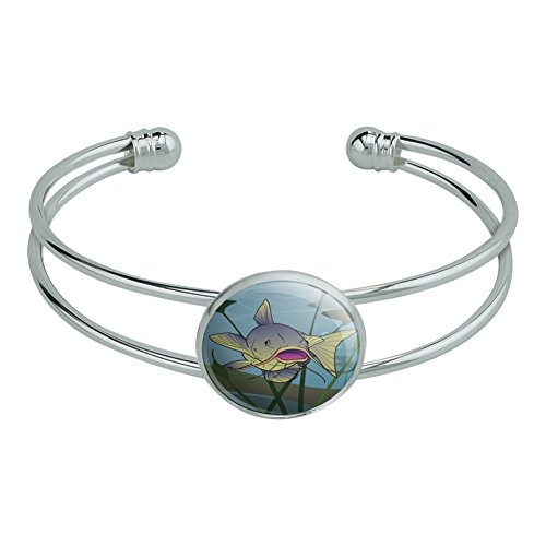 Catfish Swimming Costumes (Catfish Swimming in Water Novelty Silver Plated Metal Cuff Bangle Bracelet)