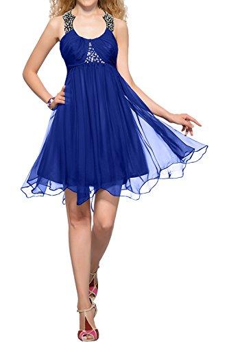 Abendkleider Damen Neu Partykleider Ivydressing Chiffon Vintage Royalblau Chiffon Promkleider Kurz Cocktailkleider Rundkragen xqYxE7dB