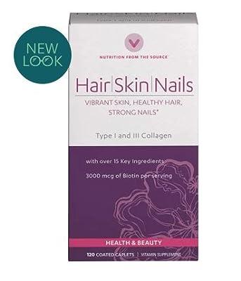 Vitamin World Hair, Skin and Nails Formula Vibrant Skin, Healthy Hair, Strong Nails 120 Caplets