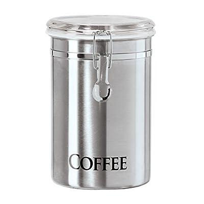 """Oggi 6597.0 Tea Airtight Canister with Clamp, 5 x 7.75""""/60 oz, Stainless"""