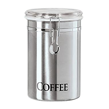 Oggi 60-Ounce Brushed Stainless Steel  Coffee  Airtight Canister with Acrylic Lid