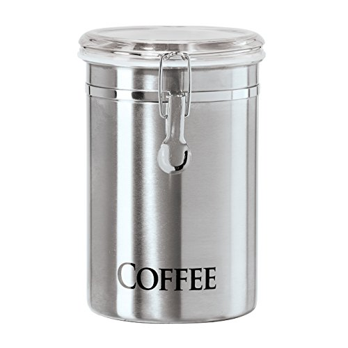 "Oggi 60-Ounce Brushed Stainless Steel ""Coffee"" Airtight Canister with Acrylic"