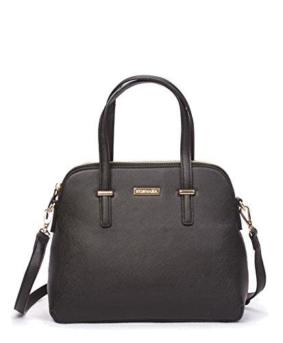 Korvara Saffiano Satchel - Premium Vegan Saffiano Leather Handbag with Zip Top and Crossbody Strap