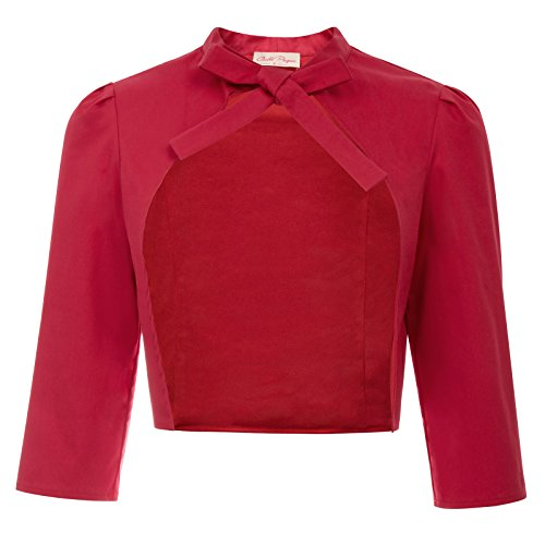Women's Casual 3/4 Sleeve Open Front Cropped Bolero Self-Tie Cardigan Coat Red Size M BP750-2