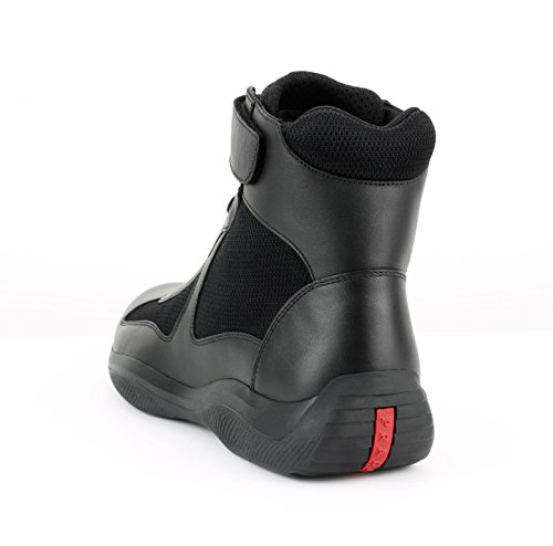 Prada Mens Americas Cup Haute Haut Sneaker, Noir (nero)