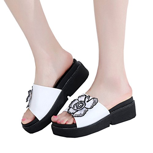Black Shoes Slippers Bottom For Leather Dfb With Women's Thick Sandals Women Slope 37 Slippers White Cool Slippers White 7xXBXd