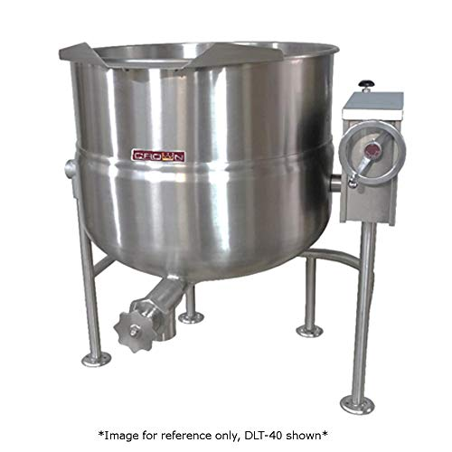 Crown DLT-40F Direct Steam Tilting Kettle with 40 Gallon Capacity & Full Jacket Direct Steam Tilting Kettle
