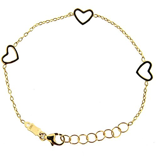 18k Yello Gold Open Hearts Bracelet 5.5 inches with extra rings by Amalia