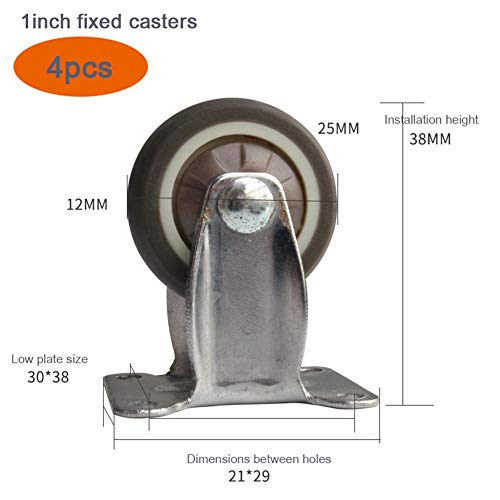 Casters Heavy Duty Swivel Wheel Fixed Nylon Brake Industrial Transport with Mounting Plate, Furniture Trolley Replacement, 4pcs (1inch / 25mm, 1.25inch / 31mm) ()