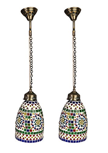 l Colorful Light Ceiling Lamp Hand Decorative With Colorful Chips & Beads (Set Of Two) AU8 ()