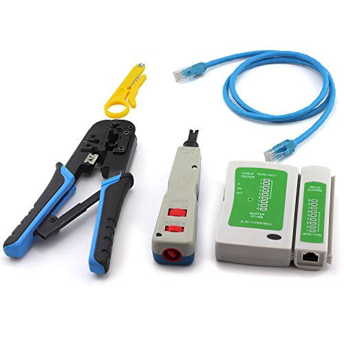 E-outstanding Network Tool Kit,Network Wire Impact Punch Down Tool, Cable Connectors Crimper Tool, Network Cable Tester Detector,Cat6 RJ45 Ethernet Patch Cables,Network Wire Stripper