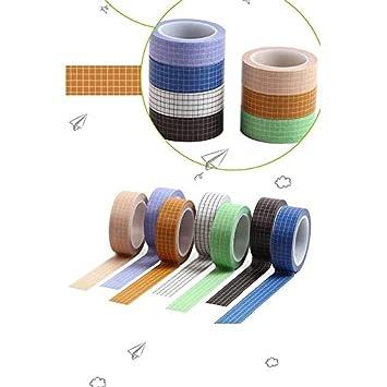 Kecream Washi Cinta Adhesiva de Decorativa para Scrapbooking DIY Manualidades /Álbum Diarios Agenda Cinta Adhesiva Cuadr/ícula de Color S/ólido
