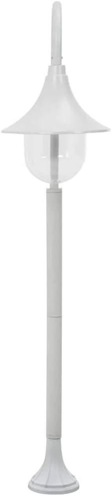 yorten Farola de Jard/ín L/ámpara de Pie de Exterior Estructura Aluminio Blanca E27 120 cm