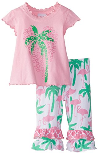 Girls Lettuce Edge - Flap Happy Baby Girls' Lettuce Edge Tee and Double Ruffle Capris Set, Palm Hearts, 24 Months