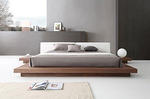 VIG Furniture Modrest Opal Collection Modern Walnut Veneer Finished Platform Eastern King Bed with Leatherette Upholstered Headboard Cushions, Brown&White