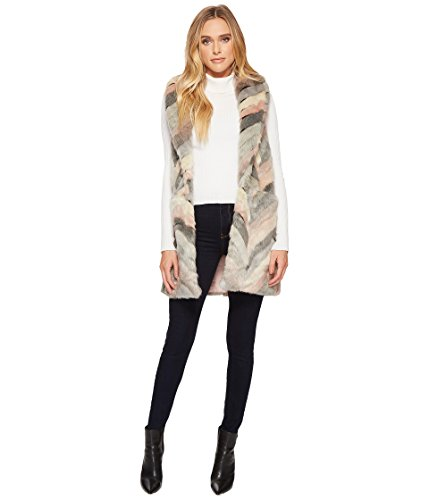 Steve Madden Women's Chevron Color Block Faux Fur Vest, Blush, X-Small/Small by Steve Madden