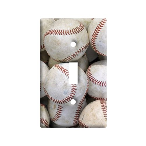 Baseballs - Plastic Wall Decor Toggle Light Switch Plate Cover - Baseball Light Switch Cover