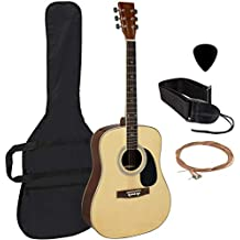 Best Choice Products 41in Full Size All-Wood Acoustic Guitar Starter Kit w/Case, Pick, Strap, Extra Strings - Natural