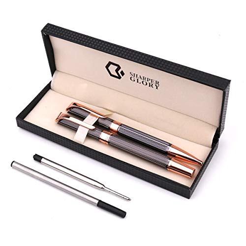 - Sharper Glory Metal 1.0mm Ballpoint 0.7mm Rollerball Pen Set in Adorable Gift Box, Black Ink, Smooth and Easy Writing Gift Pen Set, A Great Birthday, Graduation, Pack of 2 Pens with 2 Extra Refills