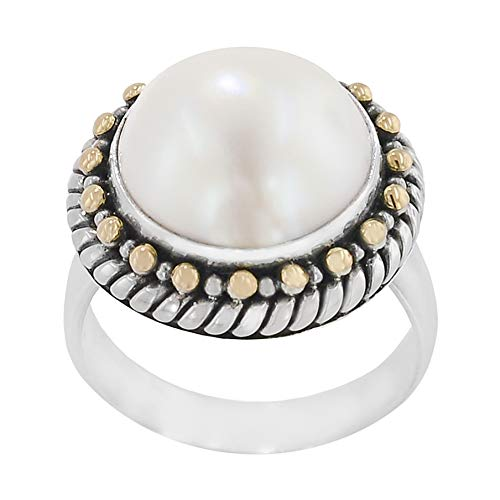 Robert Manse Designs Bali RoManse Mabe Pearl Sterling Silver and 18K Gold Ring - Gold Mabe Ring Pearl