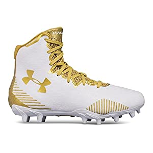 Under Armour Women's Lax Highlight MC, White (100)/Metallic Gold, 8.5