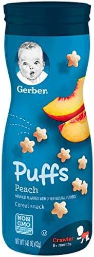 Gerber Graduates Puffs Cereal Snack, Peach, 1.48 Ounce