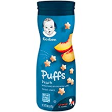 Gerber Graduates Puffs Cereal Snack, Peach, Naturally Flavored with Other Natural Flavors, 1.48 Ounce, 6 Count