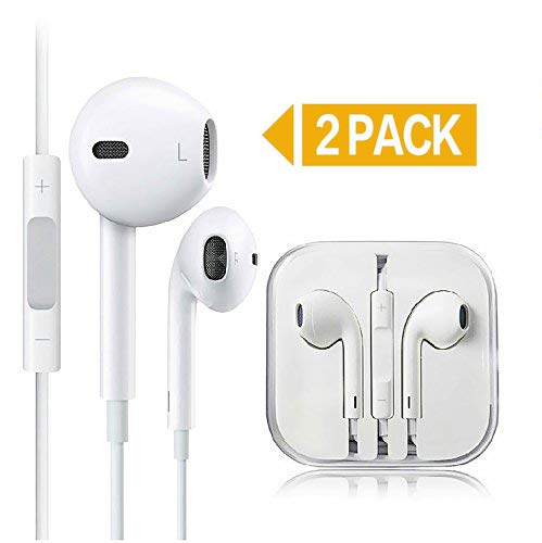 Generic 2-Pack Premium Earphones/Earbuds/Headphones with Stereo Mic&Remote Control Compatible iPhone iPad iPod Samsung Galaxy and More Android Smartphones Compatible with 3.5 mm Headphone White