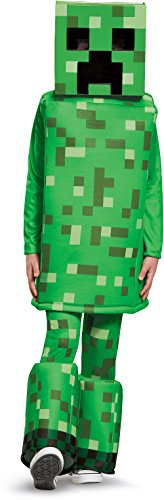 The Creeper Minecraft Costume (Creeper Prestige Minecraft Costume, Green, Medium (7-8))
