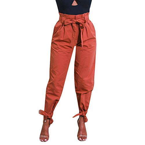 (Women Pants,Women's Casual Loose High Waist Long Pencil Pants with Bow Tie Belt Striped Casual Pants Chaofanjiancai Brown)
