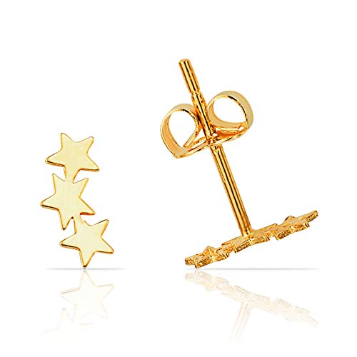 (Solid Three Sparkling Star Stud Earring in 14K Yellow Gold)