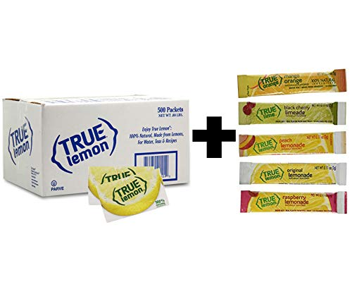 True Lemon Bulk Pack 500 Count plus 5 Sample Flavors Sticks - 1 Black Cherry Limeade, 1 Peach Lemonade, 1 Mango Orange Lemonade, 1 Raspberry Lemonade, 1 Original Lemonade