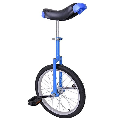 18'' Wheel Adjustable Height Unicycle Balance Exercise Blue & Black by FDInspiration
