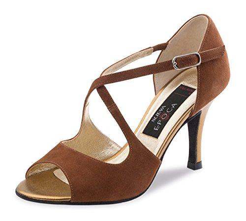 Nueva Epoca-Tango/Salsa Femme Tessa Chaussures de danse-Rouge Suède Marron-7cm