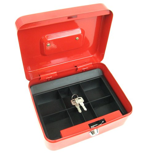 Stalwart 75-6580 Hawk 8-Inch Key Lock Red Cash Box with Coin Tray