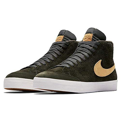 Blazers Nike Gold (NIKE Men's SB Zoom Blazer Mid QS, Sequoia/FLT Gold, 12 M US)