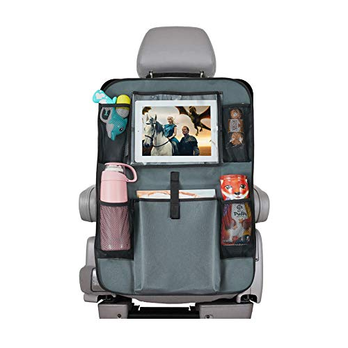 """Backseat Car Organizer, Car seat Protector Kids Kick Mats Storage Bag with 10"""" Ipad Holder +5 Pockets for Baby Auto Travel (Gray 1 Pack)"""