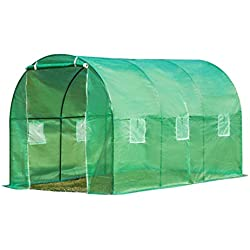 Ideal Choice Product Outdoor Large Size Walk-In Tunnel Green House,Portable Greenhouse Screen Plant Gardening House, Plant Protector,UV Protected Green Hot House W/6 Side Vent