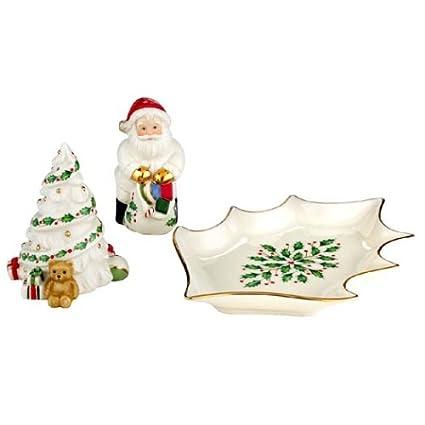 85efc6170d4 Amazon.com  Lenox Holiday Santa   Christmas Tree Salt   Pepper Set ...