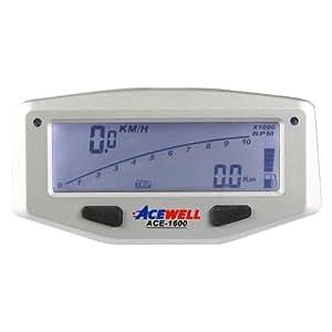 Acewell ACE-1600 - Tacómetro digital para moto (con cuentarrevoluciones, indicador de nivel de combustible y temperatura, luces LED), color plateado